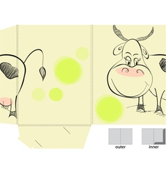 template for folder with of cow vector image