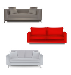 three sofa bed with isolated white background vector image