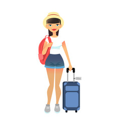 travel female tourist standing with luggage young vector image