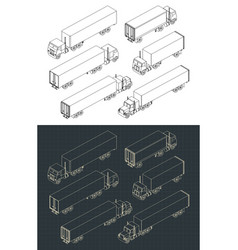 trucks and trailers set vector image