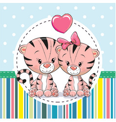 Two cute cartoon tigers vector