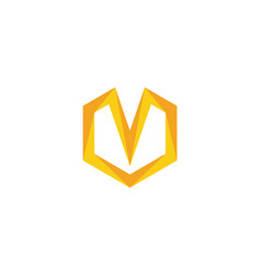 v logo hexagon icon vector image