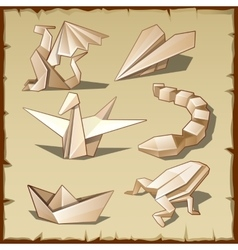 Various figures from paper like art of origami vector image
