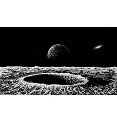 View on surface of the moon vector