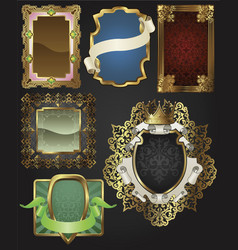 Vintage retro gold frames and labels vector