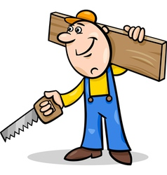 worker with saw cartoon vector image