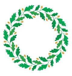 Wreath oak leaves and acorns vector