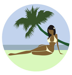 beautiful beach girl vector image