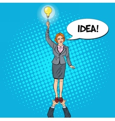 Pop Art Business Woman with Lightbulb Team Work vector image