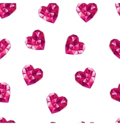 Red crystal hearts seamless pattern vector image
