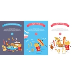 Set of fast food flat style web banners vector