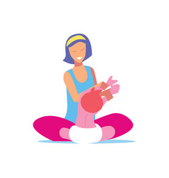 young mother playing with child vector image