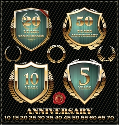 Anniversary green and gold design element vector image