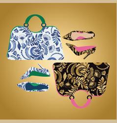 fashion handbag with high heel shoes textured vector image