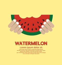 Hand Hold A Piece Of Watermelon vector image vector image