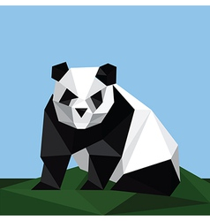 origami panda on grass vector image vector image