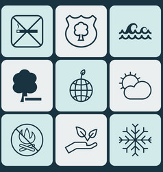 set of 9 ecology icons includes save world vector image vector image