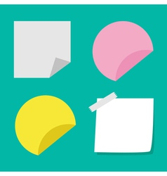 Adhesive paper notes and tag set template vector