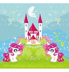 Card with a cute unicorns and magical castle vector image vector image