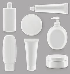 Cosmetics and hygiene plastic packaging set mockup vector image vector image