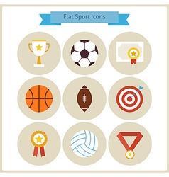 Flat Sport and Competition Winning Icons Set vector image