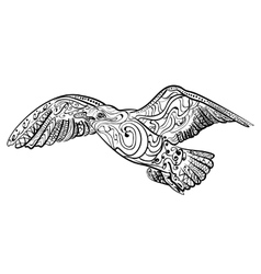Flying seagull Black white hand drawn doodle vector image vector image