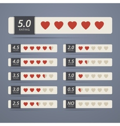 Set of rating widgets with heart shapes vector image