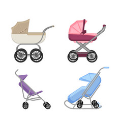 set of strollers and prams summer and winter vector image