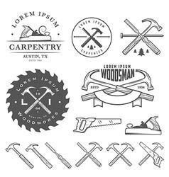Set of vintage carpentry design elements vector image vector image