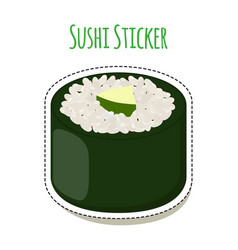 Sushi sticker asian food with fish rice seaweed vector