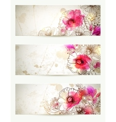 Hand drawn floral vintage Set of vector image