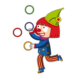 happy clown juggling rings vector image vector image