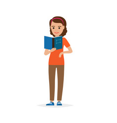 isolated adult female person reading book on white vector image