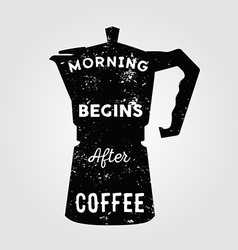 Realistic italian metalic coffee maker and hand vector image vector image