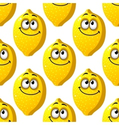 Seamless pattern of smiling yellow lemons vector image vector image