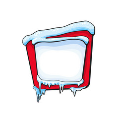 square winter banner with ice icicles snow vector image