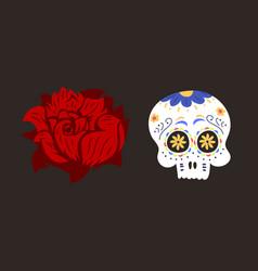 style skull face dia de los muertos symbol vector image vector image