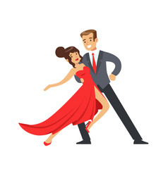 young happy couple dancing colorful character vector image vector image