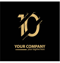 10 year anniversary luxury gold template design vector