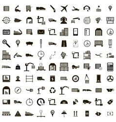 100 Logistics icons set simple style vector image