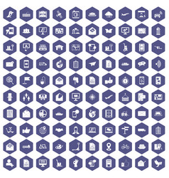 100 post and mail icons hexagon purple vector