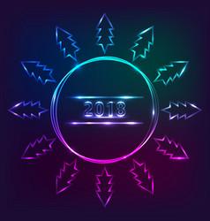 2018 new years design with christmas treeneon vector image