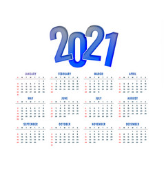 2021 new year calendar design simple modern vector