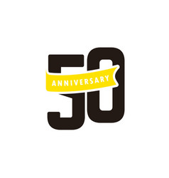 50 years anniversary number with yellow ribbon vector