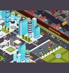 Abandoned buildings isometric composition vector