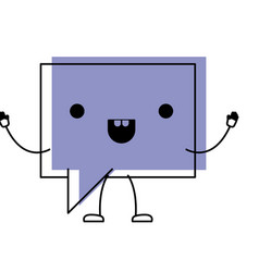 Animated kawaii square dialogue speech with tai in vector