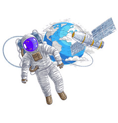 Astronaut flying in open space connected to space vector