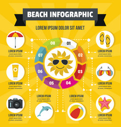 Beach infographic concept flat style vector