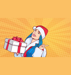 Beautiful girl wear santa costume hold gift box vector