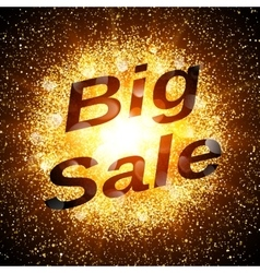 Big sale banner Abstract explosion with gold vector
